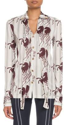 Chloé Long-Sleeve Button-Front Horse-Print Viscose Jersey Blouse