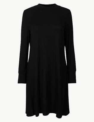 Marks and Spencer PETITE Jersey Long Sleeve Swing Dress