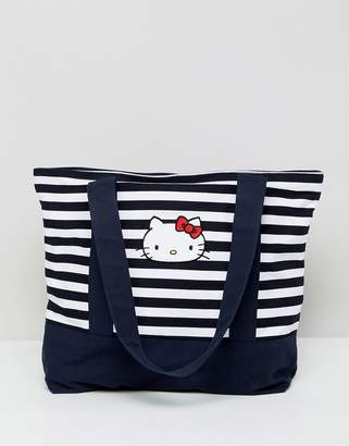 Hello Kitty x ASOS DESIGN stripe tote bag with embroidery detail