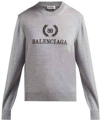 Balenciaga Embroidered Crest Logo Virgin Wool Sweater - Womens - Light Grey