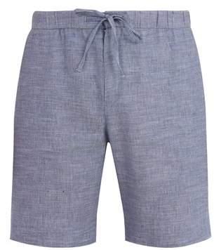 Frescobol carioca Frescobol Carioca - Drawstring Waist Slim Leg Linen Blend Shorts - Mens - Blue