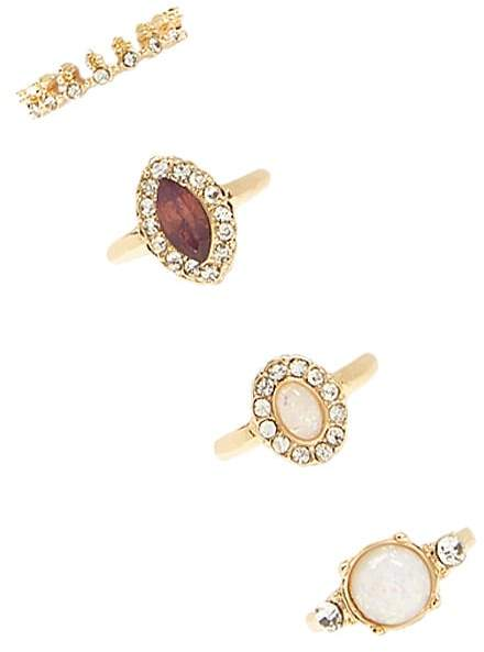 Forever 21 Faux Pearl & Rhinestone Ring Set