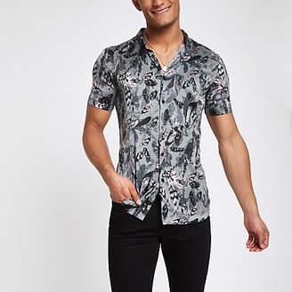 River Island Mens Green satin feather print button-down shirt
