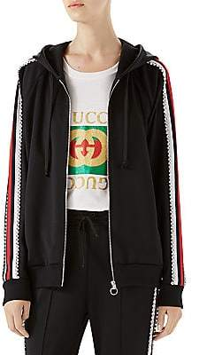 Gucci Women's Crystal-Trim Jersey Zip Jacket