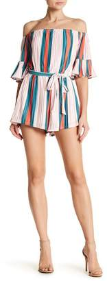 Wow Couture Striped Woven Romper