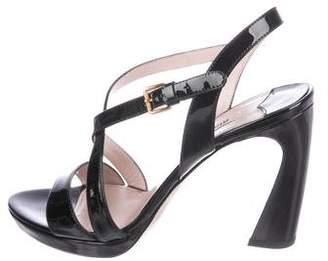 Miu Miu Patent Leather Crossover Sandals