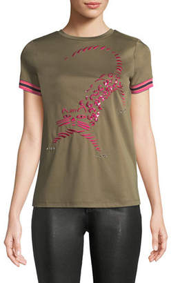 Escada Sport Crewneck Short-Sleeve Tiger-Embroidered Cotton Tee w/ Striped Knit