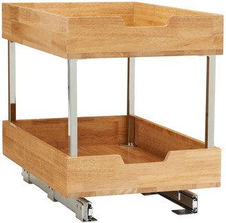 Household Essentials Glidez Wood 2-Tier 14.5-inch Wide Sliding Under Cabinet Organizer