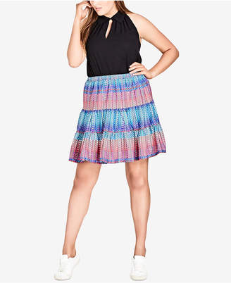 City Chic Trendy Plus Size Tiered A-Line Skirt