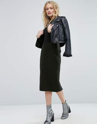 Asos Pencil Skirt in Quilted Velvet
