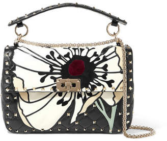 Valentino Garavani The Rockstud Spike Velvet And Suede-trimmed Quilted Leather Shoulder Bag - Black
