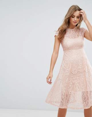 Cotton Candy Lace Midi Dress