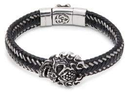 Jean Claude Stainless Steel & Leather Braided Skull Pendant Clasp Bracelet