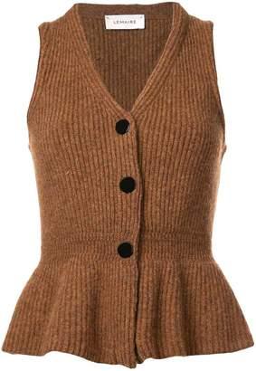 Lemaire rib knit peplum waistcoat