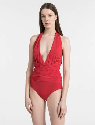Calvin Klein core solid draped one-piece swimsuit