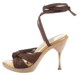 Manolo Blahnik Wrap-Around Platform Sandals