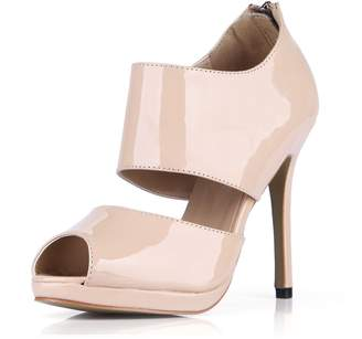 DolphinBanana DolphinGirl Women Fashion Shiny Peep Toe 12CM High Heels Ankle Wrap Dress Party Club Pub Prom Pumps Patent Material Stiletto Shoes SM00099