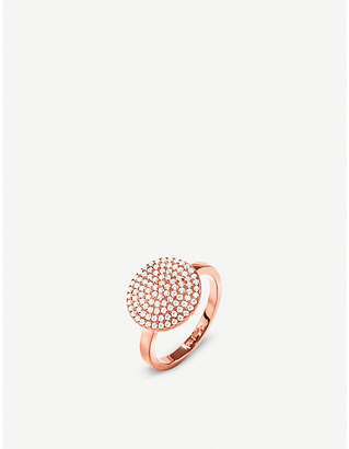 Folli Follie Discus circle large rose-gold plated ring