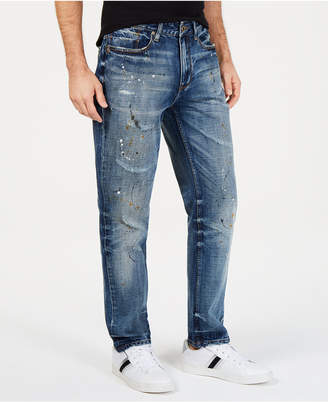 Sean John Men Athletic, Tapered Paint Splatter Jeans