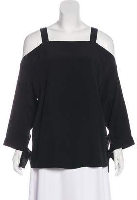 Tibi Cold-Shoulder Silk Top