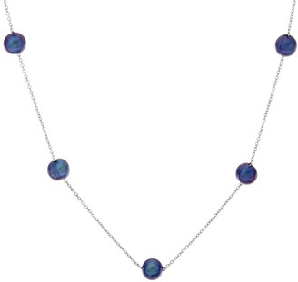 Honora Cultured Pearl 8.0mm Stainless Steel Station Necklace