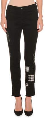 Ermanno Scervino Skinny-Leg Plaid-Patch Jeans