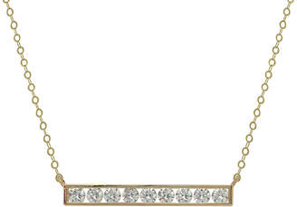 FINE JEWELRY Petite Lux 10K Cubic Zirconia Bar Necklace With Gold Filled Chain