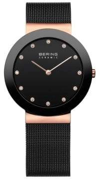 Swarovski BERING Black Dial Ceramic Stainless Steel and Crystal Element Bracelet Watch
