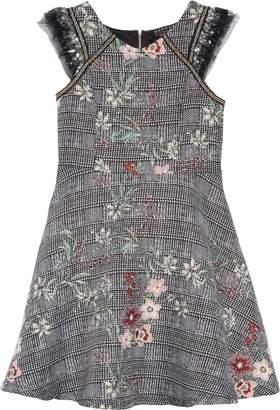 Hannah Banana Plaid Floral Jacquard Dress