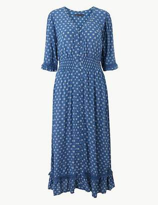 Marks and Spencer Floral Print Dobby Waisted Midi Dress