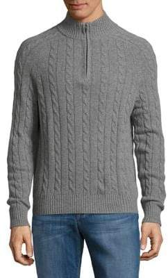 Brooks Brothers Red Fleece Cable-Knit Half-Zip Sweater