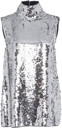Tibi Mock Neck Sequin Top