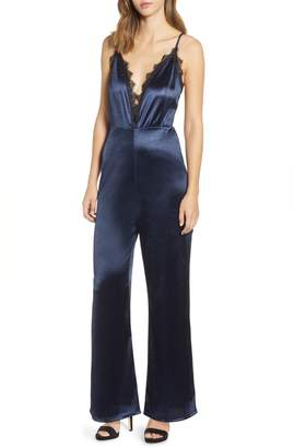 Leith Lace Trim Satin Jumpsuit