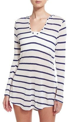 Splendid Striped Hoodie Coverup Tunic $108 thestylecure.com