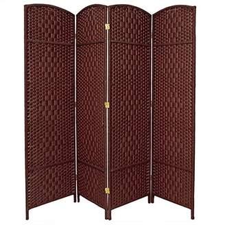 Oriental Furniture Cheaper Great Low Price Room Divider, 6-Feet Tall Diamond Weave Natural Fiber Folding Screen