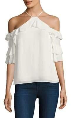 Parker Natalia Cold-Shoulder Silk Blouse