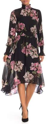 Nanette Lepore NANETTE Floral Smocked Hi-Lo Chiffon Dress