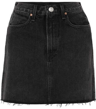 Rag & Bone Moss Frayed Denim Mini Skirt - Black
