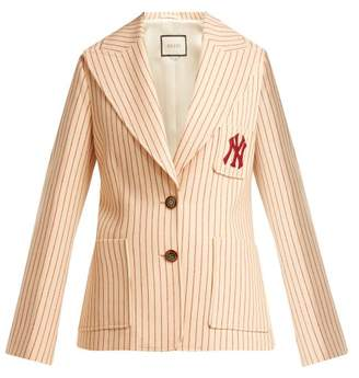 Gucci Single Breasted Pinstriped Wool Jacket - Womens - Red Stripe