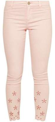 Dorothy Perkins Womens Petite Pink Broderie Jeans