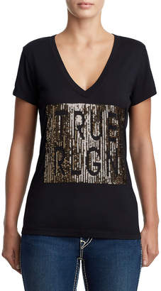 True Religion WOMENS DEEP V SEQUIN LOGO TEE