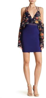 Wow Couture Patterned Upper Cold Shoulder Dress