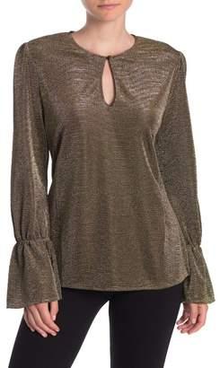SWEET RAIN Metallic Knit Bell Sleeve Top