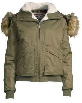 Hunter Faux Fur-Trim Insulated Bomber Jacket