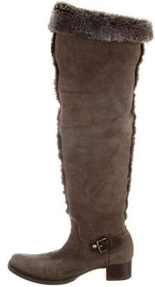 Miu Miu Suede Shearling Trim Over-The-Knee Boots