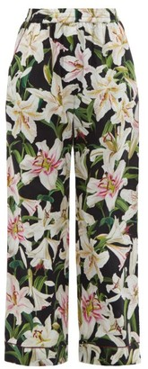 Dolce & Gabbana Lily Print High Rise Cotton Blend Pyjama Trousers - Womens - Black Print