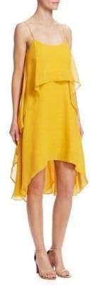 Halston Roundneck Flowy Layered Flounce Dress