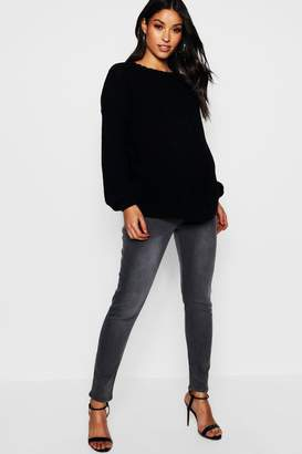 boohoo Maternity Grey Over The Bump Skinny Jean