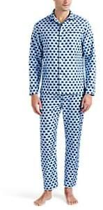 Maison Marcy Men's Top-Hat Micro-Basket-Weave Cotton Slim Pajama Set - Blue Pat.