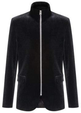 HUGO Regular-fit velvet blazer with exposed centre-front zip